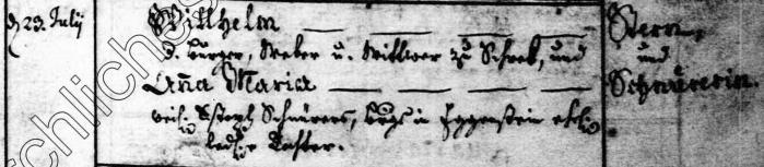 Heirat von Wilhelm Stern und Anna Maria Schnürer