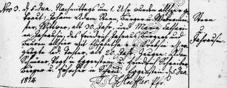 Heirat von Johann Adam Stern und Maria Catharina Jahraus