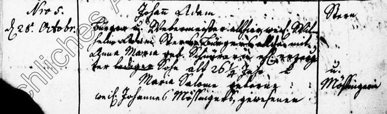 Heirat von Johann Adam Stern und Maria Salome Mößinger