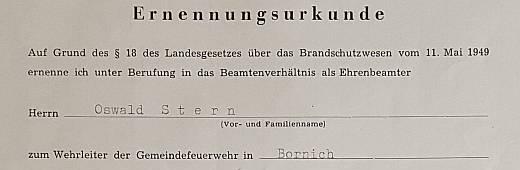 Oswald Albrecht Stern wird Wehrführer der Freiwilligen Feuerwehr in Bornich