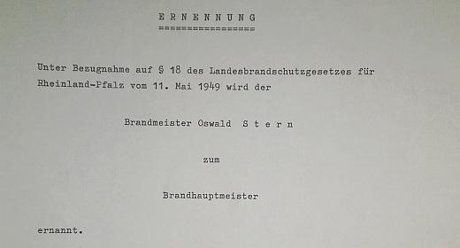 Oswald Albrecht Stern wird zum Brandhauptmeister ernannt
