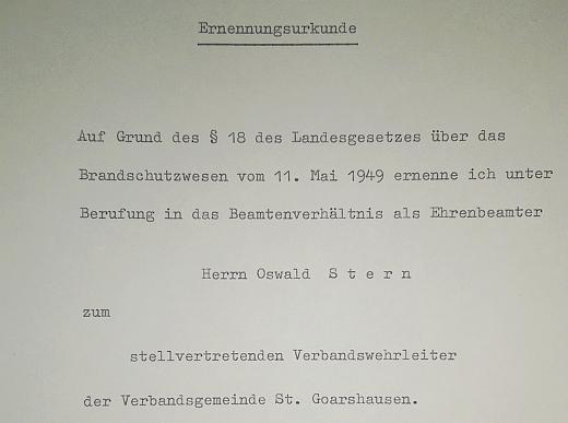 """Oswald Albrecht Stern wird stellvertretender Wehrleiter der der Verbandsgemeinde """"Loreley"""" St. Goarshausen"""