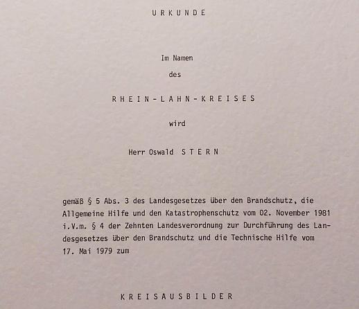 Oswald Albrecht Stern ist Feuerwehr Kreisausbilder im Rhein-Lahn-Kreis