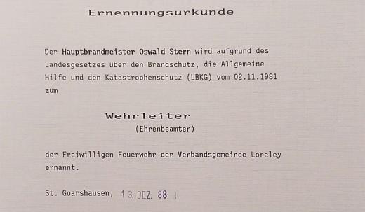 Oswald Albrecht Stern wird Wehrleiter der der Verbandsgemeinde Loreley