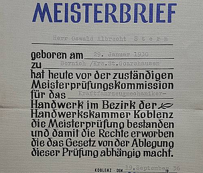 Oswald Albrecht Stern ist Kraftfahrzeugmechaniker Meister