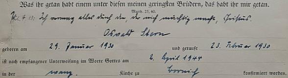 Konfirmation von Oswald Albrecht Stern