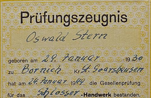 Oswald Albrecht Stern ist Maschinenschlosser Geselle