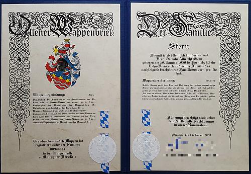 Oswald Albrecht Stern stiftet das Wappen der Familie Stern
